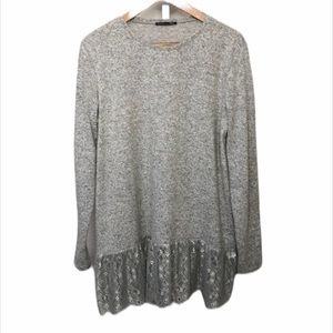 Zara Gray Lace Bottom Sweater